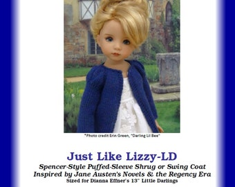 "Just Like Lizzy-LD--PDF Knitting Pattern for Dianna Effner's 13"" Little Darling Studio Dolls"