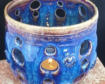 Luminary ,049, Shipping Included, Indoor/Outdoor Candle Holder, Handmade Pottery , Blue Garden Luminary