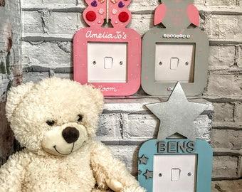 Personalised light switch surround kids light switch surround Butterfly light switch surround Star light switch surround Owl light switch