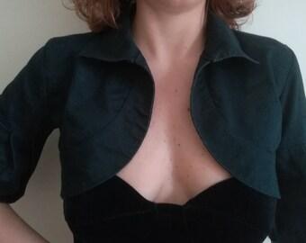 Woman BOLERO JACKET 'Feu Femme' Vintage Made in Italy Crop Jacket Black Blue FLOUNCE Sleeve sz. S