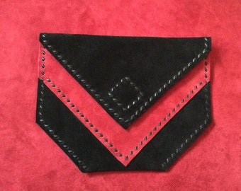 Black & Red Suede Belt Bag Clutch