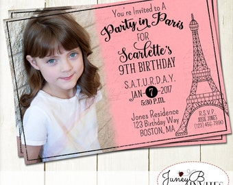 Paris Birthday Party Invitation, Girl Birthday Invitation, Paris Birthday Invitation