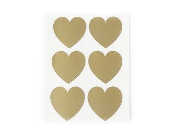 Large Gold Heart Stickers