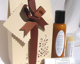 Patchouli scented spa gift set of body lotion, solid perfume, lip balm gift box 3 PC
