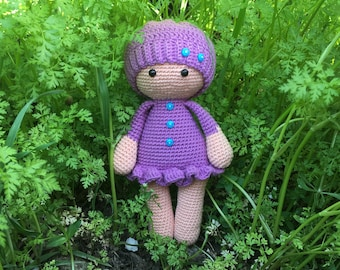Crochet cute doll for girls Amigurumi small soft toddler toy Knitted first doll Custom knitted animal dolls