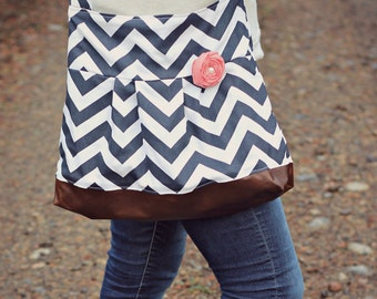 NAVY Chevron Concealed Carry Messenger Bag, Diaper Bag Style, Conceal Carry Handbag, Concealed Carry Purse, Conceal