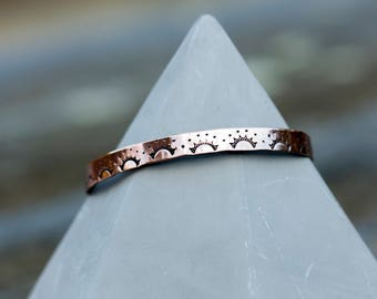 Stamped copper cuff bracelet // Sunrise lace pattern // Handstamped to order