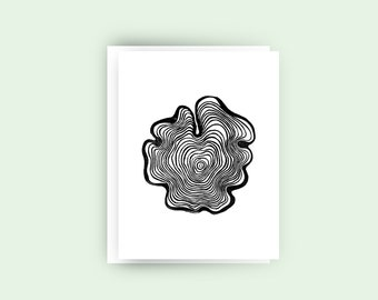 Tree Ring III, Greeting Card, Black and White Art, Minimal, Gift, Gift For Her, Gift For Him, Mom Gift, Collection, Nature, Illustration