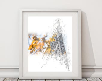 Flat Iron in the Fall Drawing | Original artwork | Architectural drawing | Pen & Ink by hand | 8x10 Wall Print