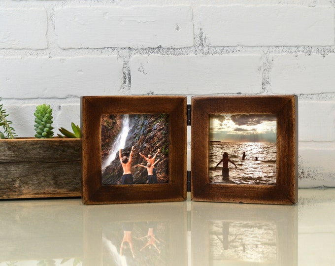 """Two 4x4"""" Picture Frames in 1x1 Flat Style Hinged Together Super Vintage Dark Wood Tone Finish - IN STOCK  Same Day Shipping Double Frame 4x4"""