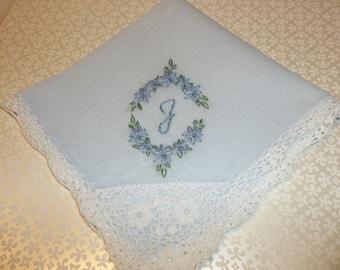 bride's something blue, wedding handkerchief, oval design, hand embroidered, blue fabric hanky, bridal gift, blue for bride, keepsake,