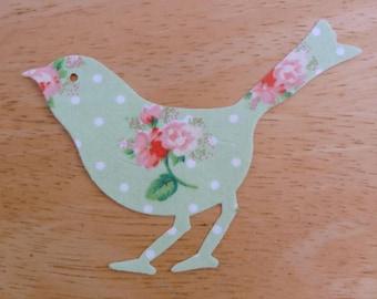 Bird #2 Iron on Fabric Applique - 10cm x 7cm shabby chic fabric bird iron on applique, made to order, choose your fabrics, ships from UK