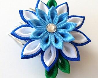Kanzashi Fabric Flower hair comb . Blue kanzashi hair comb. Blue kanzashi.