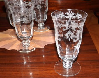 FOSTORIA  Crystal Champagne  Goblets Etched Glass Set Of 4