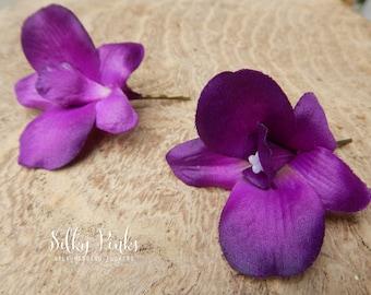 Purple Hair Pins - Orchid Hair Accessories - Bobby Pins - Bridal Hair Flower - Decorative Bobby Pins- Purple flower - Bridal Accessories