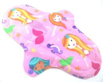 "Cloth pad heavy/night time 10.5"". Flannel,towelling,PUL. Mermaid print."