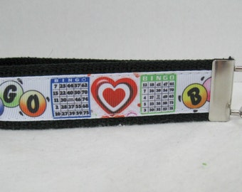 BINGO Key Fob - BINGO Key Chain - Bingo Lover Gift - Bingo Key Ring - BLACK