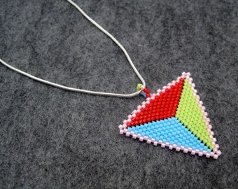Beaded Pendant Necklace - Peyote Triangle - Red Lime Green Turquoise Blue Pink by randomcreative on Etsy