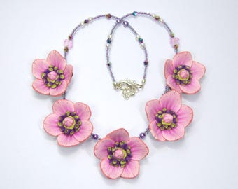 Flower Necklace, hand made from Polymer Clay