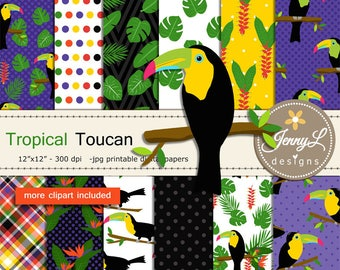 Tropical Toucan Digital Paper and Clipart SET, Summer, Birds of Paradise, Flowers Wedding, Birthday, Digital Scrapbooking