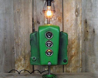 Railroad table lamp steampunk table lamp oil can lamp industrial desk lamp made from vintage john deere parts steampunk table lamp industrial lighting aloadofball Image collections