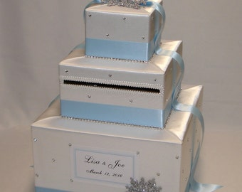 Winter theme Card Box-White and Ice Blue -any colors can be made