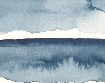 """Vapeurs sur le lac, la peinture abstraite aquatiques, l'aquarelle, 5 """"X 7"""""""