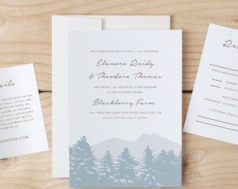 Instant Download Printable Wedding Invitation Template | Smoky Mountain | Word or Pages | MAC or PC | Editable Artwork Colors