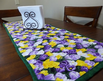 Bed of Crocuses Table Runner ~ Quilted & Reversible