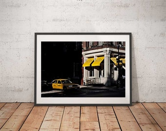 New York Photo Fine Art Print -Soho Yellow Cab Yellow Corner Broome St Color Picture NYC Street View Cliché City Poster