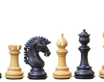 "The Apache Series Luxury Chess Set in Ebony / Box Wood - 4.5"" King. SKU: VJ002"