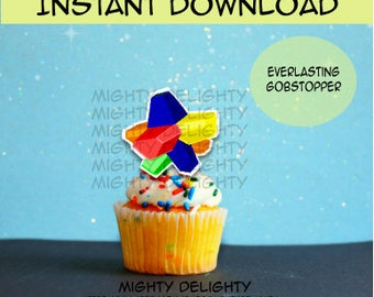 Everlasting Gobstopper Cupcake Topper for Willy Wonka Party