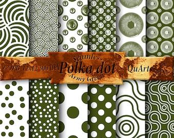 Digital Paper Army Green polka dot Pack: Polka Dots Digital Paper, Digital Download, Polka Dots Background, Polkadot