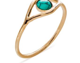 Turquoise Eye Ring,Evil Eye ring,December Birthstone Ring,Gemstone Ring,Silver Ring,Stacking Ring,Gold Eye ring, Turquoise howlite Ring,Gift