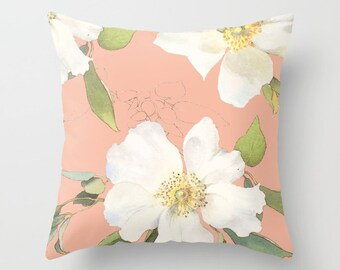 Floral Pillow, Peach Pillow, Peach Throw pillow, peach decor, vintage floral print pillow, flowers pillow cover with insert, pastel decor
