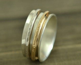 Spinner Ring, Sterling Silver Ring Adorned With Two Textured Spinning Bands, Nickel Free, Eco-Friendly