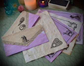 15 Piece Set / Witch Stationary / Wicca Book of Shadows Pages / Vintage Illustrations / Whimsical Witchcraft Paper / Invitation Envelopes