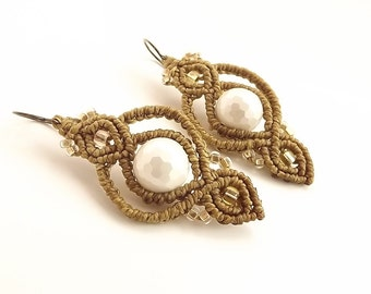 Macrame Earrings - White Mother Of Pearl With Golden Brown Thread