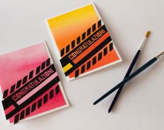 Watercolour background congratulations cards