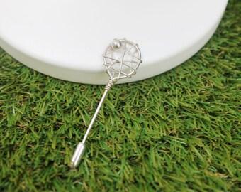 Silver Tennis Racket Pin