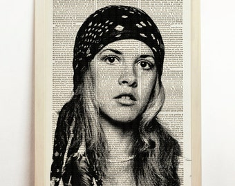 Stevie Nicks Print Fleetwood Mac Poster Gypsy Black White Illustration Wedding Gigf B&W Engraving Home Art Upcycled Decor Book Dictionary