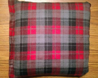 Rice Bag or Corn Bag -Heating Pad - Ice Pack -Microwavable- Freezable- Red and Black Plaid- Pick Your Own Fill-  Approx 8x10
