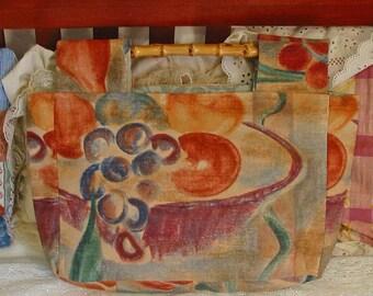 Artsy CASUAL PURSE Summer Fruits Orange Peaches Blue Plums Purple Bowl Tan Flowery Cotton, Roomy Pocket, Bamboo Handles Handmade Cloth Bag