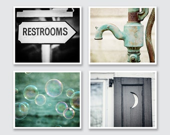 Restroom Decor, Bathroom Wall Decor, Bathroom Art, Rustic Bathroom, Teal Bathroom, Bathroom Gallery Wall, Print or Canvas Art Set.