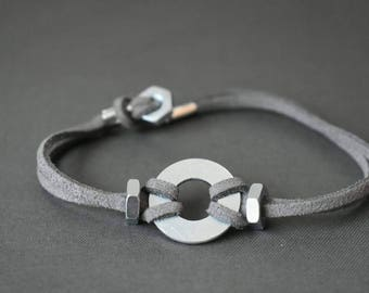 Men's Gray Suede Cord Bracelet : Washer Bracelet With Hex Nut Closure