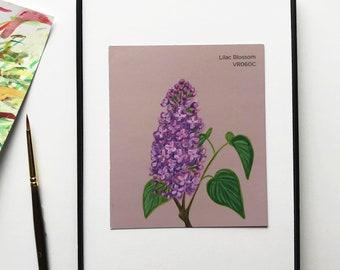 "Original miniature acrylic painting,""Lilac Blossom"""