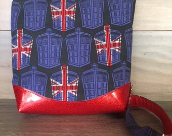 Doctor Who Tardis and British Flag Crossbody, Red Glitter Vinyl, Adjustable Strap
