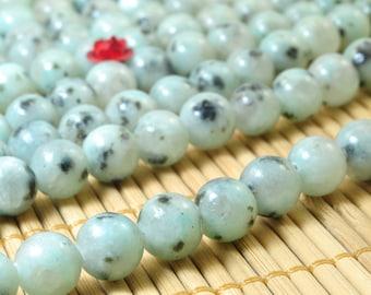 47 pcs of Natural Sesame Jasper ,Kiwi Jasper, DIY handmade jewelry,Jasper smooth round beads in 8mm