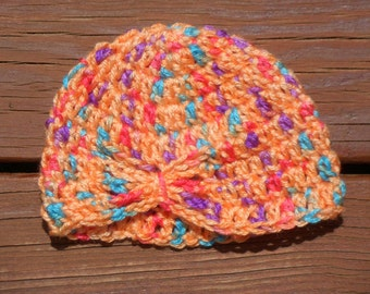 Butterfly Hat, Flapper Hat, Infant Girl Item, Baby Crochet, Photo Prop Hat, Pretty Baby Item, Newborn Cap, Purple Hat, Pink Hat, Baby Item