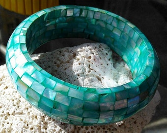 Turquoise Mosaic Mother of Pearl Vintage Bangle Bracelet